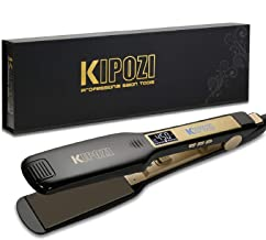 KIPOZI Professional Titanium Flat Iron Hair Straightener with Digital LCD Display, Dual Voltage, Instant Heating, 1.75 Inc...