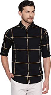 Dennis Lingo Men's Checkered Navy Slim Fit Cotton Casual Shirt