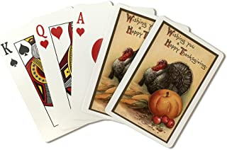 Wishing You a Happy Thanksgiving - Turkey and Produce #1 - Vintage Holiday Art (Playing Card Deck - 52 Card Poker Size with Jokers)