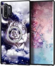Samsung Galaxy Note 10 Plus Case with Holder Ring Galaxy White Tiger Soft TPU Rubber and PC Anti-Slip Grip Cover Case, Shockproof Cover Defend Protective Phone Case for Samsung Galaxy N