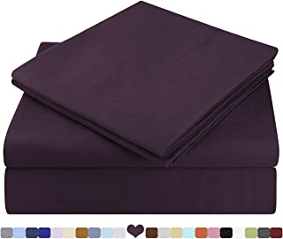 HOMEIDEAS Bed Sheets Set Extra Soft Brushed Microfiber 1800 Bedding Sheets - Deep Pocket, Hypoallergenic, Wrinkle & Fade Free - 3 Piece(Twin XL,Purple)
