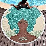 VVSADEB Toalla de playa Aquarius para mujer, redonda con borlas, manta de playa a prueba de arena, toalla redonda de playa de gran tamaño, 122 cm