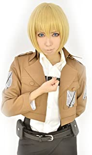 Amybria Anime Costume Attack On Titan Armin Arlart Short Cosplay Wig Dark Blonde