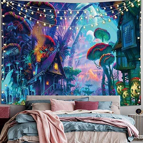 Tapiz de Pared Psicodélico,Trippy Tapices de la Casa de Setas Tapiz Abstracto Hippie Tapiz de Cuento de Hadas, Tapestry Decoración de Pared para Dormitorio Sala de Estar.
