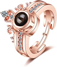 Inf-way I Love You 2-in-1 Open Ring, 100 Languages Projection on Round Onyx Pendant Loving Memory Rings