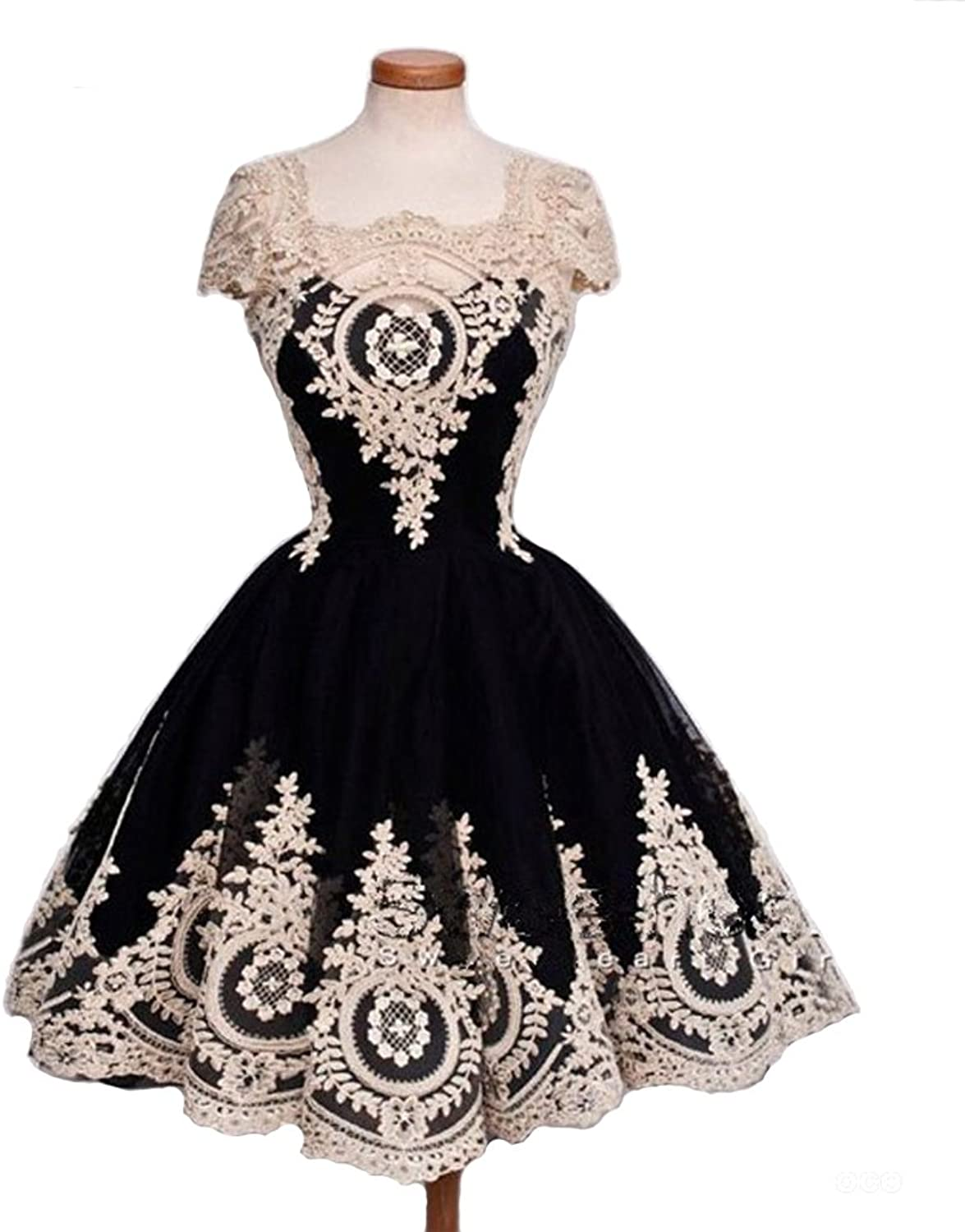 Fllbridal Cocktail Gowns Luxury Appliques Sequare Collar ALine Party Gowns