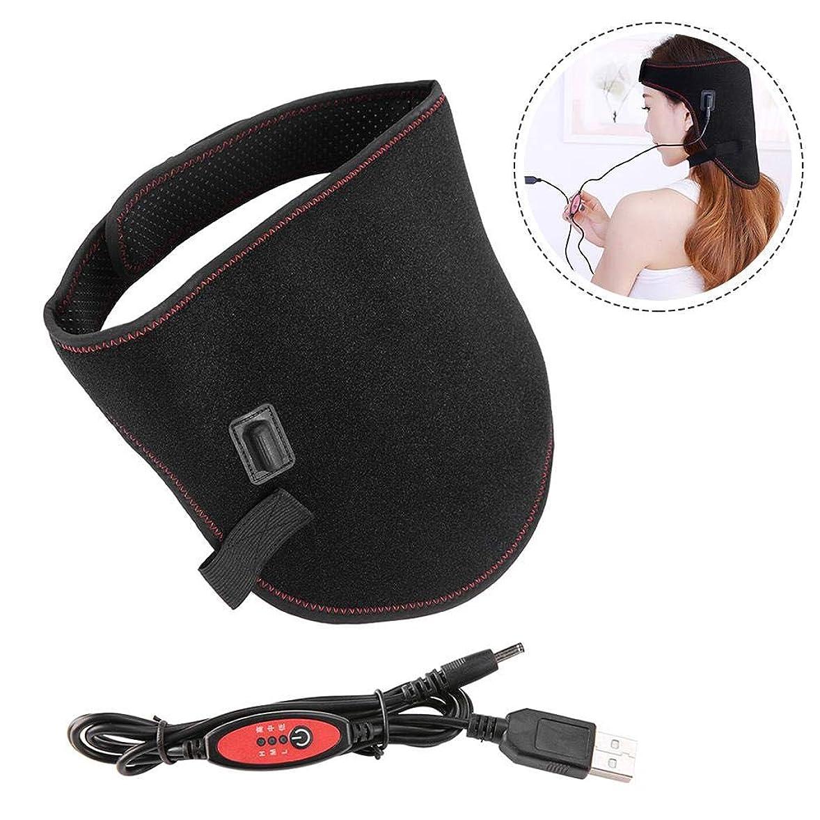 遅れ聡明聡明加熱ネックベルト、usbネオプレン電気赤外線温度制御加熱熱い圧縮ヘッド保護ラップにケア頭痛ホームオフィスの使用
