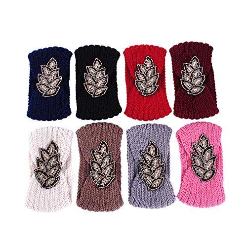 TININNA Serre-tête Bandeau Bande de Cheveux Laine Tricoté Turban Elastique Couvre-Oreille Head Wrap Chapeaux pour Femme Fille Rouge Foncé