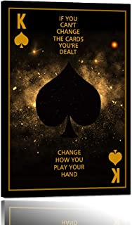 Motivational Wall Art Poker Player Spade K Inspirational Quotes Modern Simple Inspiring Canvas Poster Indoor Decor Motivational Wall Painting Artwork Framed Artwork Easy to Hang - 24''Wx36''H