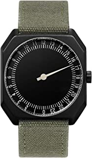 slow Jo 15 - Swiss Made one-hand 24 hour watch - Black with olive grenn canvas band