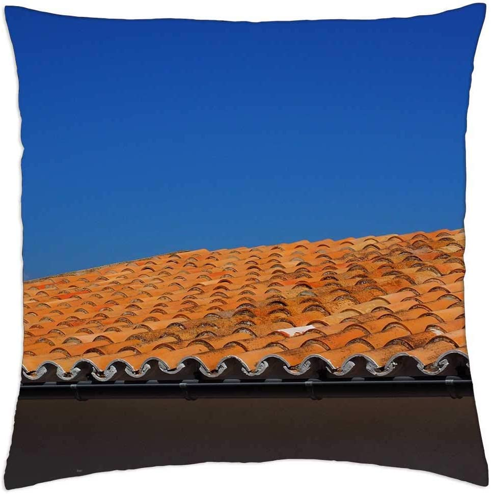 Amazon Com Lesgaulest Throw Pillow Cover 16x16 Inch Roof Roofing Flat Roof Red House Roof Tile 2 Home Kitchen