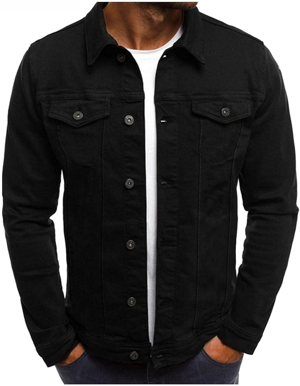 POHOK Men's Fashion Slim Fit Cotton Jacket Casual Stand Collar Multi-Pocket Single Breasted Work Jacket Lightweight Coat