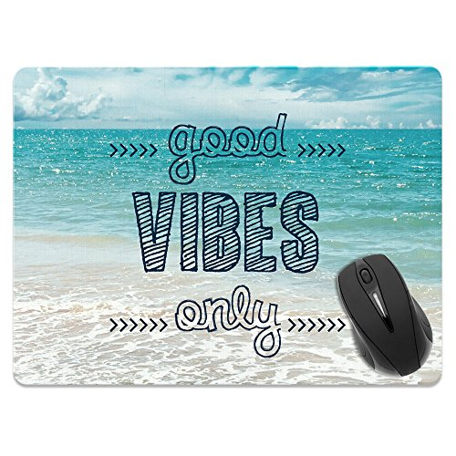 Extra Large (X-Large) Size Non-Slip Rectangle Mousepad, FINCIBO Good Vibes Only Mouse Pad for Home, Office and Gaming Desk
