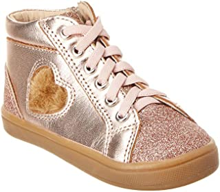 Old Soles Girl's Heart Felt High Top Copper Smooth Leather Lace Up Side Zipper Plush Fur Heart Sneaker