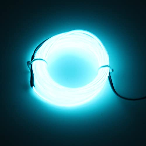 Lerway Light Blue 5M Tron Neon Flexible Glowing Electroluminescent Wire EL Wire with Controller Christmas Light Party Festival