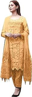 ClemiraWomen's Regular Net Semi Stictehd Salwar suit