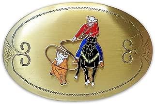 Rockmount Vintage Solid Brass Calf Roper Cowboy Belt Buckle
