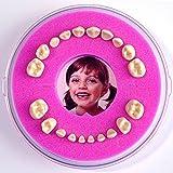 Caja de dientes de Leche  Firsty Round Magnetic  (rosa, chica, cumpleaños ) con texto en Espagnol, con Imán de nevera.