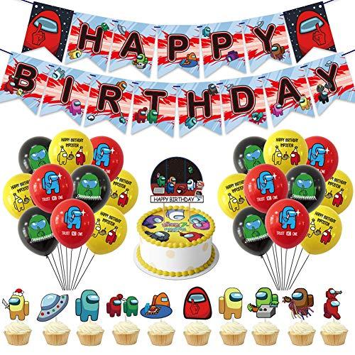 Party Decorations Set CHEPL Birthday Party Banners Decoration Set Alles Gute zum Geburtstag Banner Latex Luftballon Kuchen Topper für Baby Shower Kinder Party