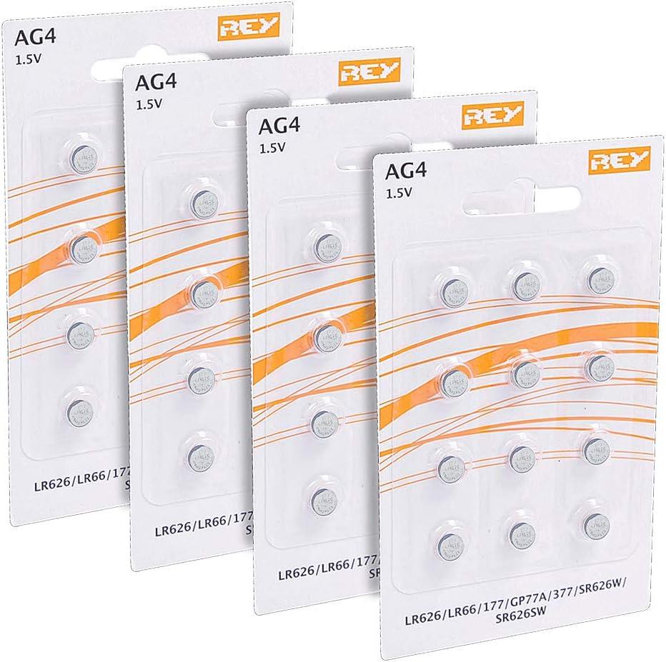 Pack de 48 Pilas AG4 1.5V Tipo Botón de Litio, LR626, LR66, 177, GP77A, 377, SR626W, ST626SW