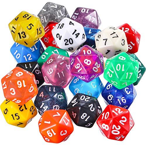 TecUnite Conjunto de Dados Poliédricos de 25 Piezas con Bolsa Negra para DND RPG MTG y Otros Juegos de Mesa con Surtiddo de Multicolor al Azar (D20)
