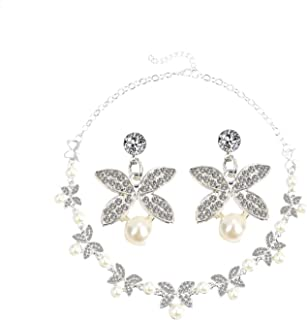 Hot Imitation Pearl Wedding Necklace Earring Sets Bridal Jewelry Sets for Women Elegant Party Gift Costume Jewelry Set