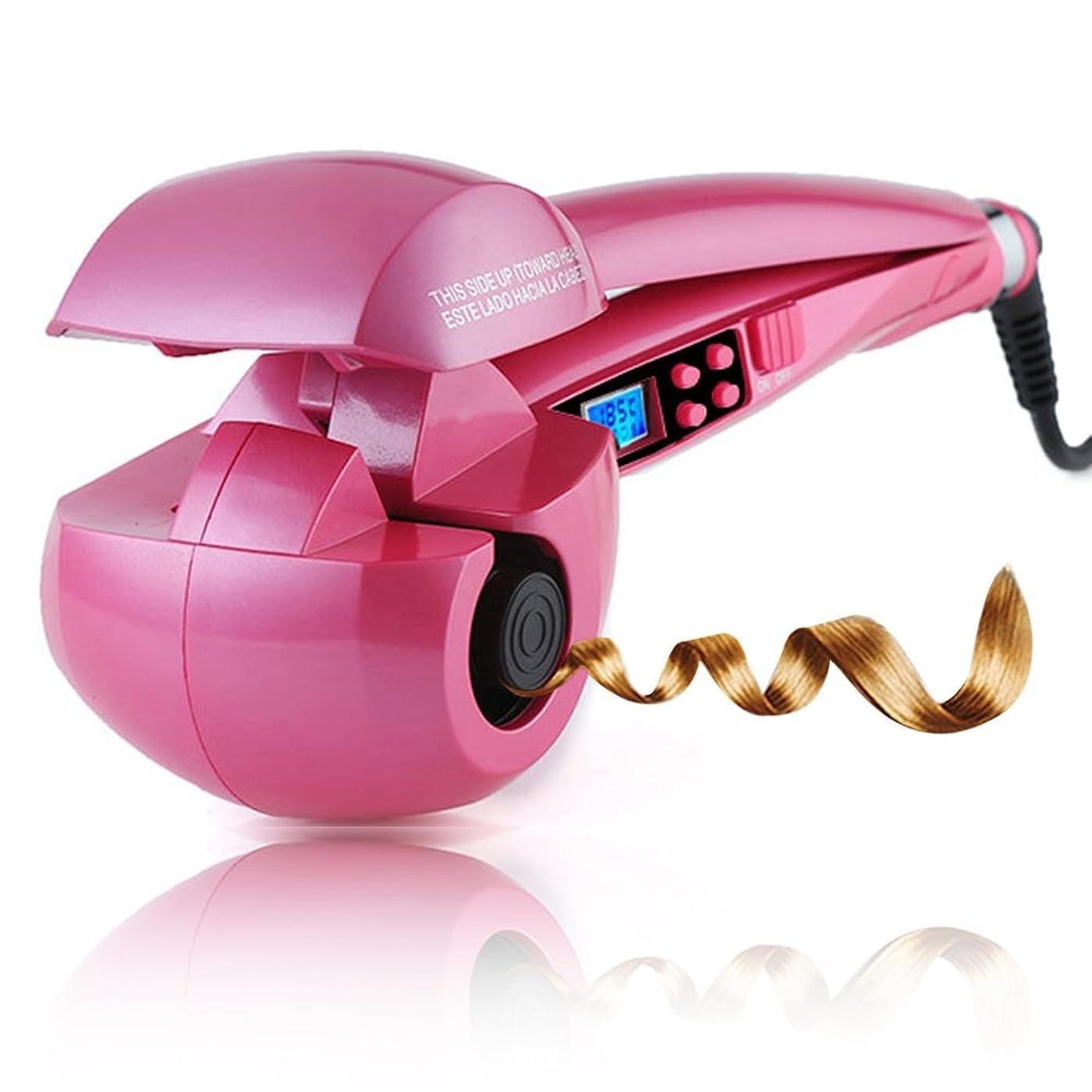 商業のシフト水差しMEIKOU オートカール ヘアアイロン 8秒自動巻き ミラカール 日本語取扱説明書付き (ピンク)