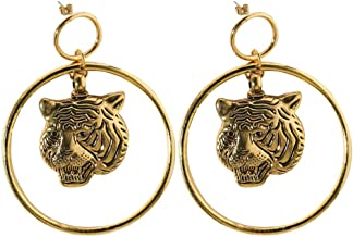 carduran Fashionable Women Jewelry Punk Metal Tiger Head Shade Large Hoop Dangle Statement Stud Earrings