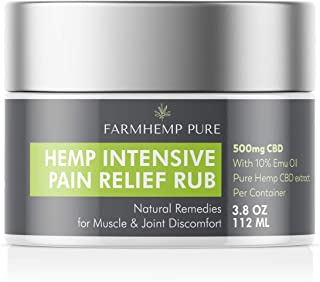 FARMHEMP PURE Intensive Healing Emu & Hemp Oil with 500mg Chronic Joint, Sciatic Nerve Pain & Muscle Cramps Relief Rub Cream - Effective Arthritis Joaint & Sciatica Nerve Pain Relief Rub - 3.8oz