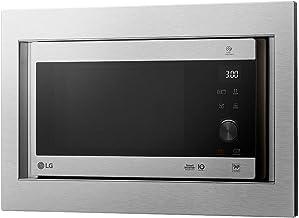 LG MH6565CPSK - Microondas grill con tecnología Smart Inverter, kit de encastre, potencia microondas y grill de 1450 W, 25 l de capacidad, dislplay LED, panel táctil y giratorio, Acero antihuellas
