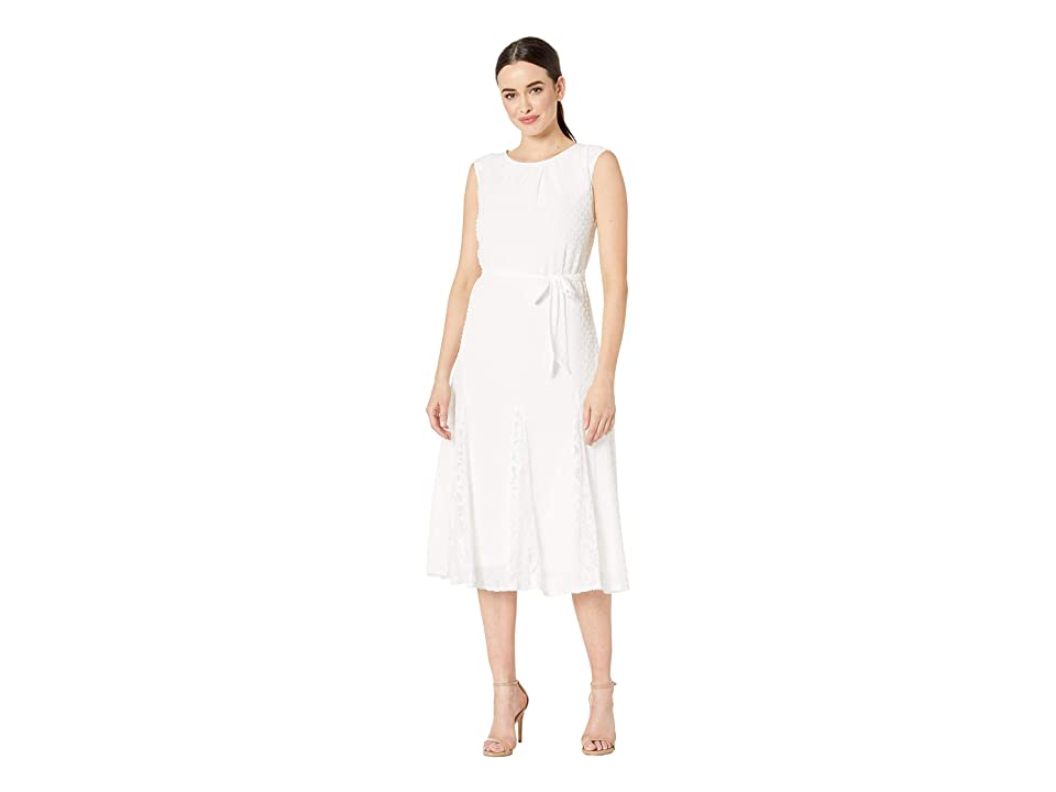 Taylor Cap Sleeve Clipdot Lace Insert Midi Dress (Ivory) Women