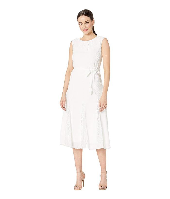 Taylor Cap Sleeve Clipdot Lace Insert Midi Dress 6pm