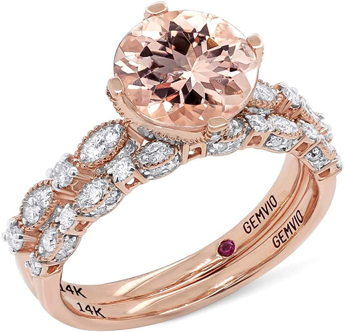 GEMVIO Collection sold out Luxury goods 2 1 5 Cttw Round 8MM Morganite Style Vintage