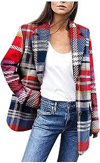 Women's Faux Wool Coat Plaid Blazer Suit Casual Cardigan Short Coat Elegant Jacket Soft Warm Coat Fall Winter
