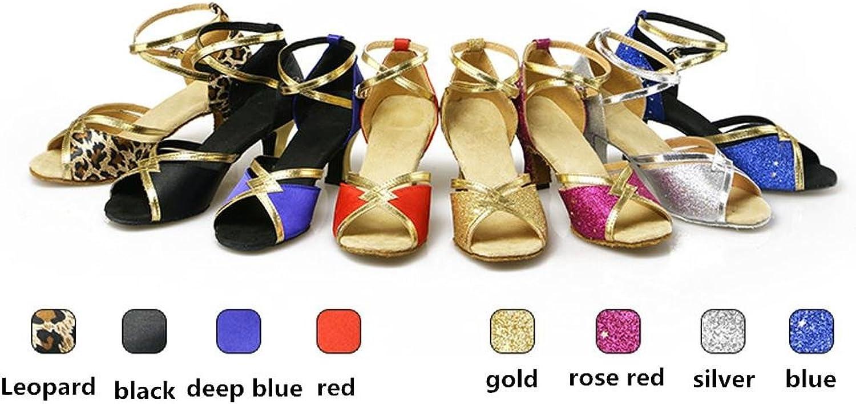Byjia Women'S Thick Heel Ankle Strap Dance shoes Satin Latin Salsa Ballroom High Heel Pu Leather Glitter Salsa Tango