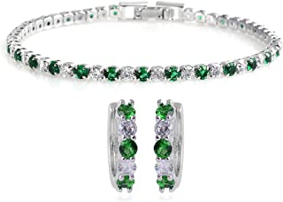 Silvertone Cubic Zirconia CZ Round Created Emerald Hoops Hoop Earrings Tennis Bracelet 7