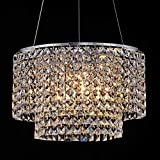 2 Tier Modern Crystal Chandelier Lighting Chrome Pendant Lights Fixture with Stainless Steel Lampshade Chandeliers Light with Adjustable Steel Wire, H9.9'' x W15.75'', 3 E12 Bulbs