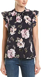 Rebecca Taylor Women's Ruffled Magnolia Floral Silk Blend Top in Blueberry Combo Size 6