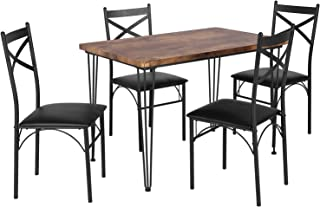VECELO Industrial Style Table and 4 Chairs with Metal...