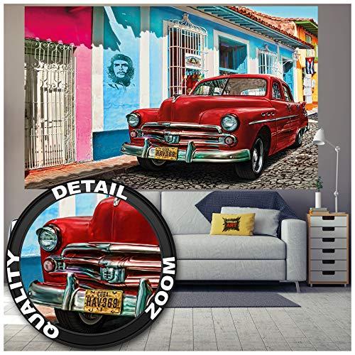 GREAT ART Fototapete – Cuba Wandbild – Dekoration Kuba Oldtimer Auto Havanna Weltkulturerbe Red Car La Habana Vieja Stadt Che Guevara Foto-Tapete Wandtapete Fotoposter Wanddeko (210 x 140 cm)
