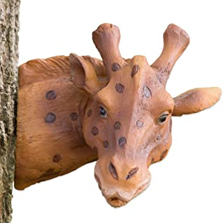 Bits and Pieces - Giraffe Tree Hugger - Durable Polyresin Animal Tree-Hugger Sculpture - Lawn and Garden Outdoor Décor Statue