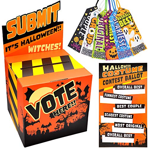 Halloween Party Costume Contest Ballot Box, 50 Voting Ballots and 6 Trophy Award Ribbons for Home Indoor Office Vote Party Game