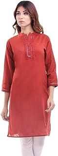 Chichi Indian Women's Plain Cotton Kurti Top