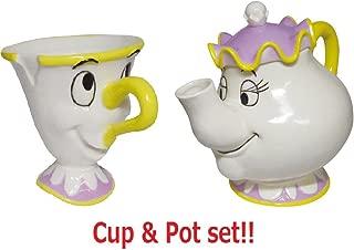 SunArt Disney Beauty And The Beast Chip Mug cup & Mrs. Potts Tea Pot Set SAN2691 & SAN2690