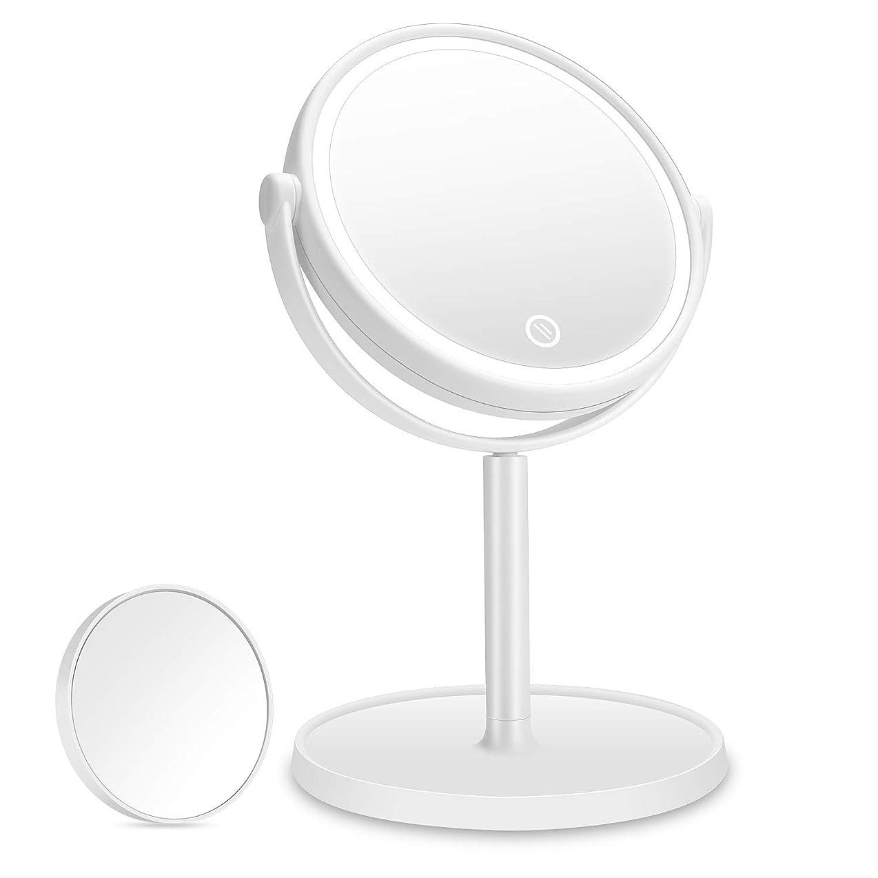 運搬増幅器愛されし者化粧鏡 Aidbucks LED 拡大鏡 5倍 卓上鏡 メイク 女優 スタンドミラー LEDライト付き 明るさ調節可 充電式 360度回転 収納 自然光 柔らかい光 折りたたみ式 USB/乾電池給電 ホワイト
