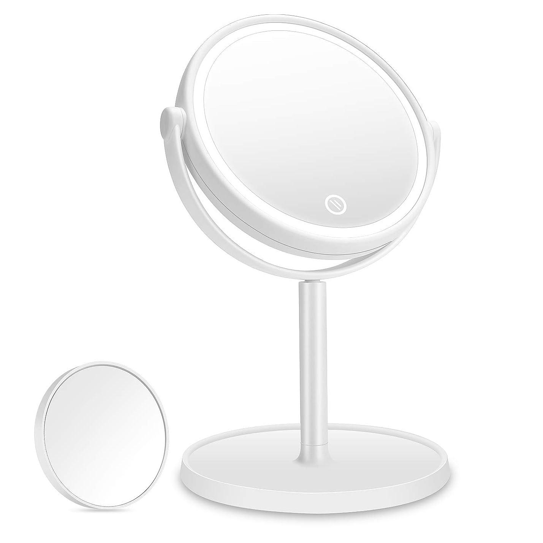プレミア病者五化粧鏡 Aidbucks LED 拡大鏡 5倍 卓上鏡 メイク 女優 スタンドミラー LEDライト付き 明るさ調節可 充電式 360度回転 収納 自然光 柔らかい光 折りたたみ式 USB/乾電池給電 ホワイト