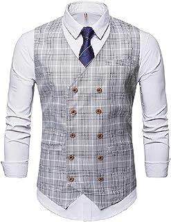 MU2M Men's Double Breasted Plaid Slim Fit Sleeveless V-Neck Dress Suit Vest Waistcoat