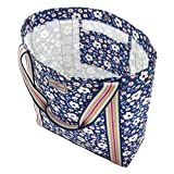 Cath Kidston Reverse Coated Tote   Women's Island Flowers Embroidered Tote Bag   Female's Imported Grocery Bags   Stylish & Fashionable European Style   Teenage Girls Vintage Durable Tote Bags (Navy)
