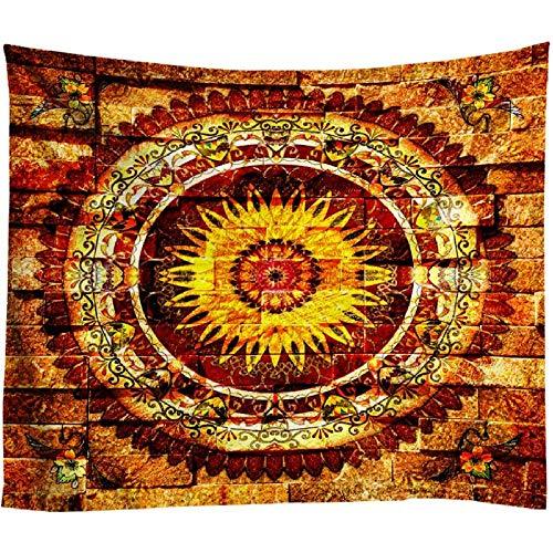 AdoDecor Tapisserie Murale Bohemia Mandala Tapiz de Pared Toalla de Playa Mandala Alfombras de Pared de ladrillo Dorado Colgante Nordic Vintage Decoración para el hogar 40x60 Pulgadas