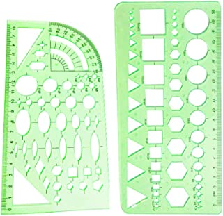 YEJI 2PCS Green Plastic Measuring Templates Geometric Rulers geometric patterns for Office and School, Building form work, Drawings templates